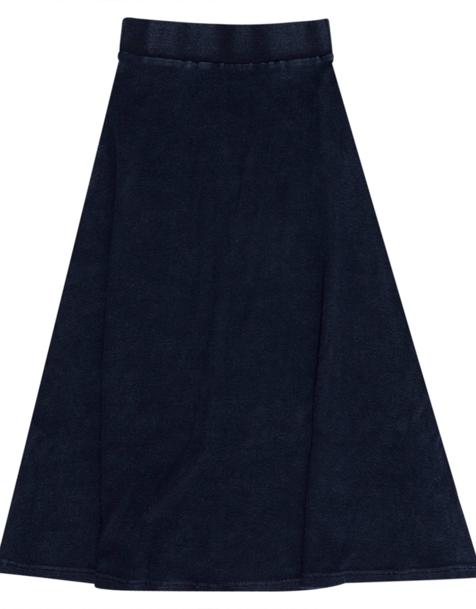 PeekABoo Peek A Boo Ribbed Stretch Denim Aline Long Skirt