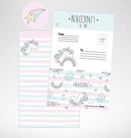 ISCREAM Iscream 8-pack Unicorn Stripes Fold-over Cards with Stickers