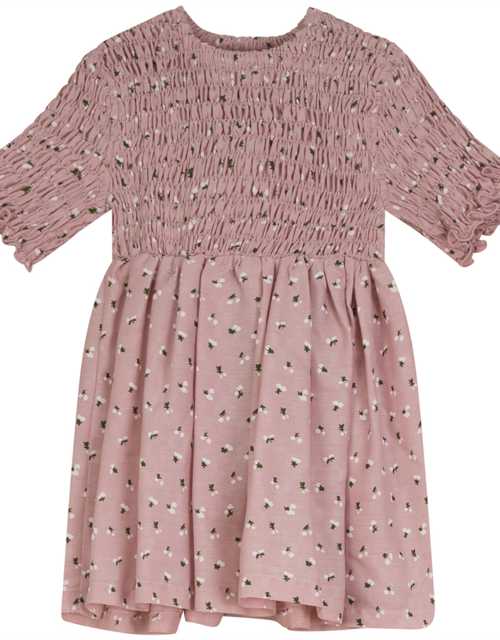 Clo Clo Tulip Print Dress with Smocked Top