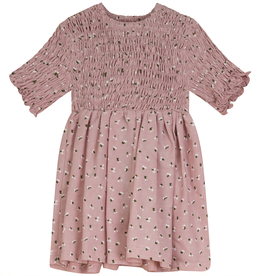 Clo Clo Tulip Print Dress with Smocked Top