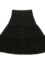 Riff Riff Ribbed Tiered Skirt with Front Buttons