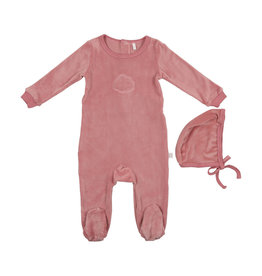 Pouf Pouf Velour Footie with Bonnet Pajama with Embossed Cloud