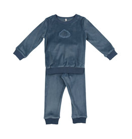 Pouf Pouf Velour Pajama with Embossed Cloud