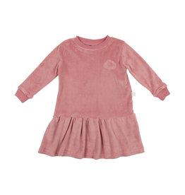 Pouf Pouf Velour Dress with Drop Waist Bottom Ruffle