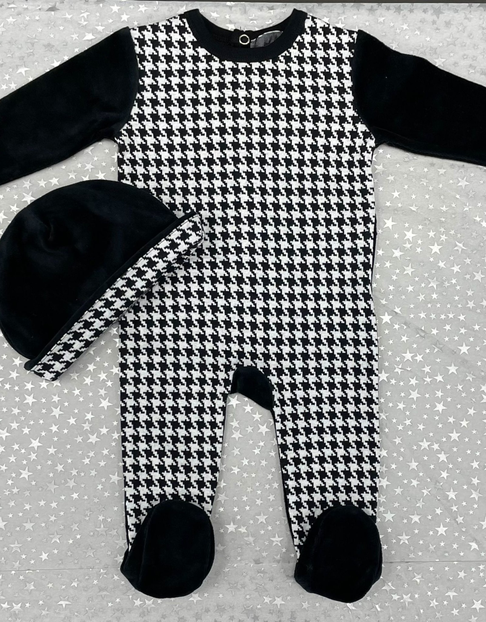 Small Moments Small Moments Houndstooth Print Footie with Hat