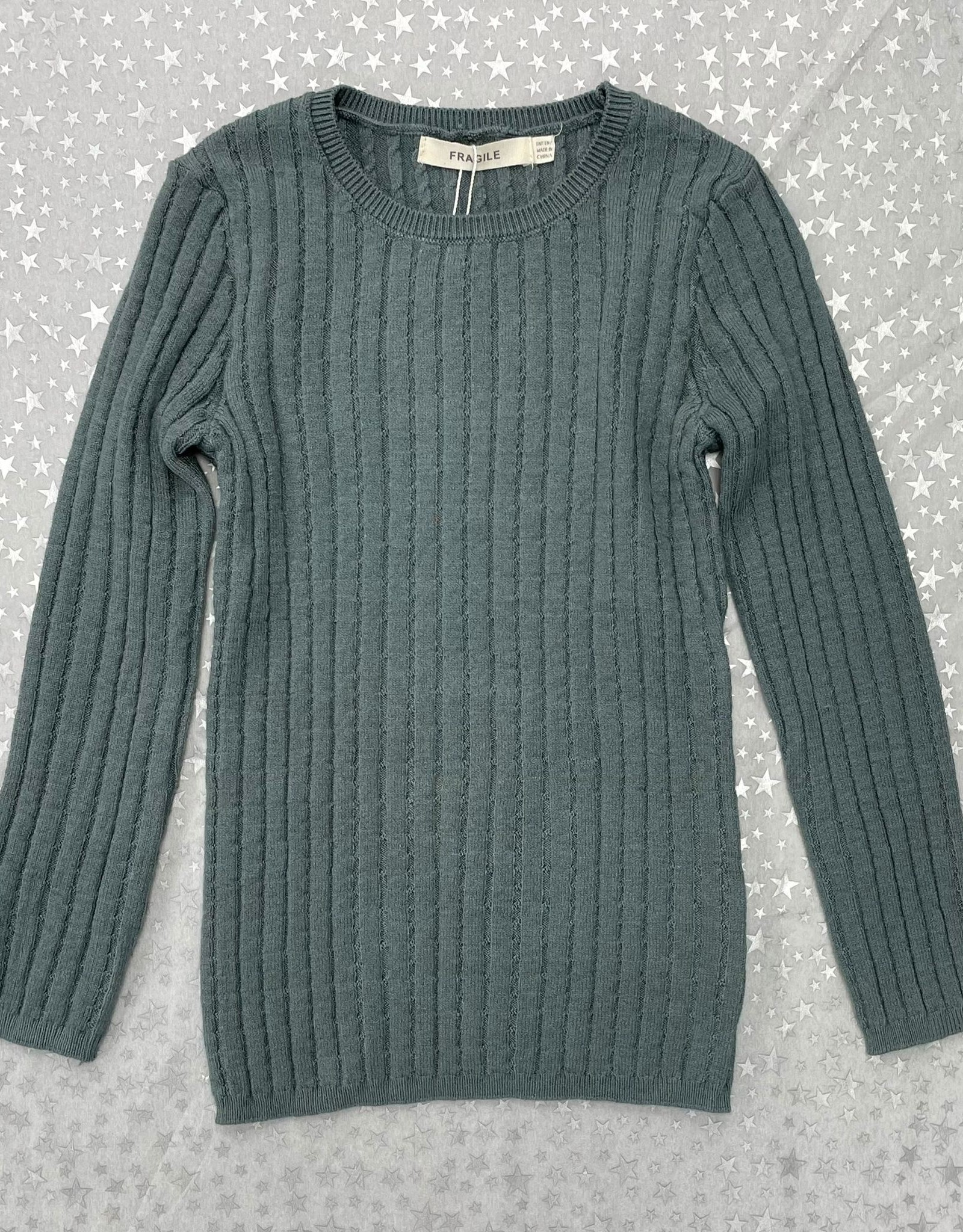 FRAGILE Fragile Reverse Cable Rib Knit Top