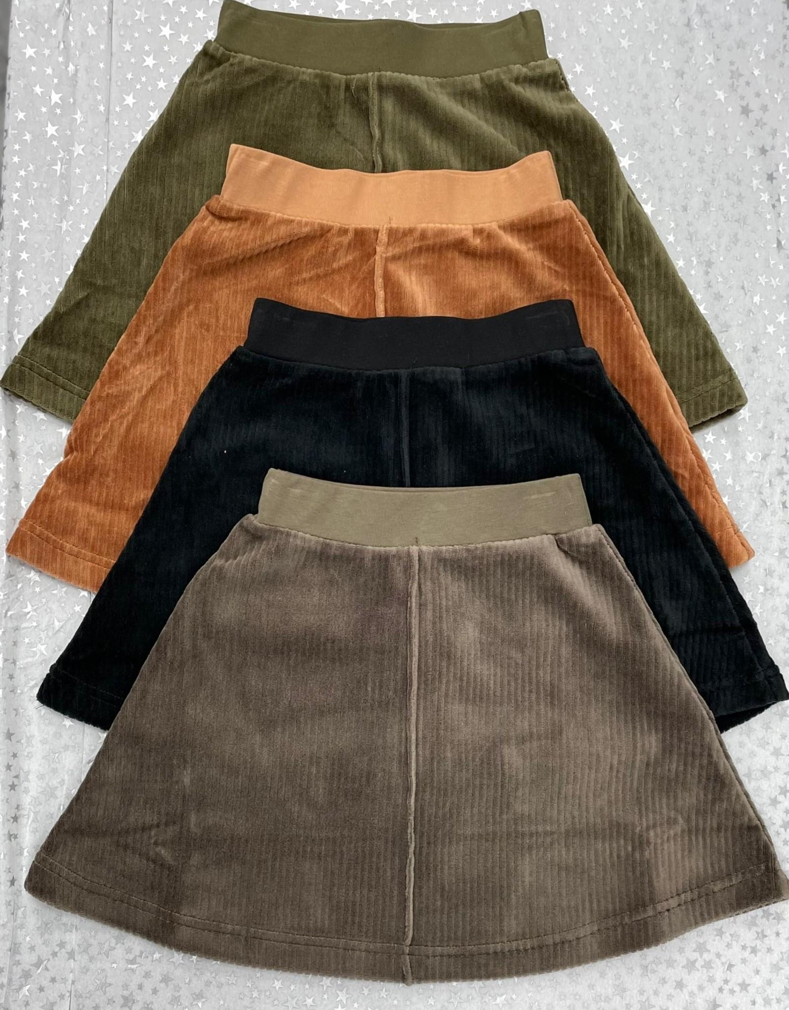 FYI FYI Velour Ribbed Aline Skirt