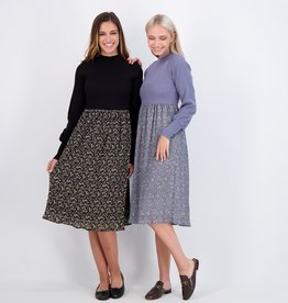 Noni Noni Rib Top with Floral Crinkle Bottom Dress