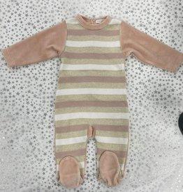 ChantDeJoie Chant De Joie Velour Footie with Knit Stripes