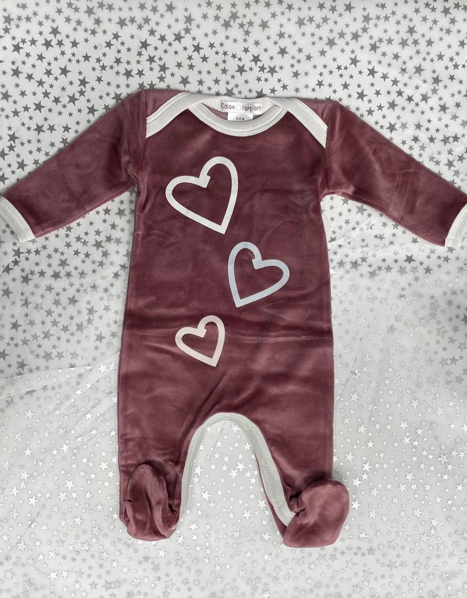 Cotton PomPom Cotton PomPom Velour Footie with Hearts/Stars