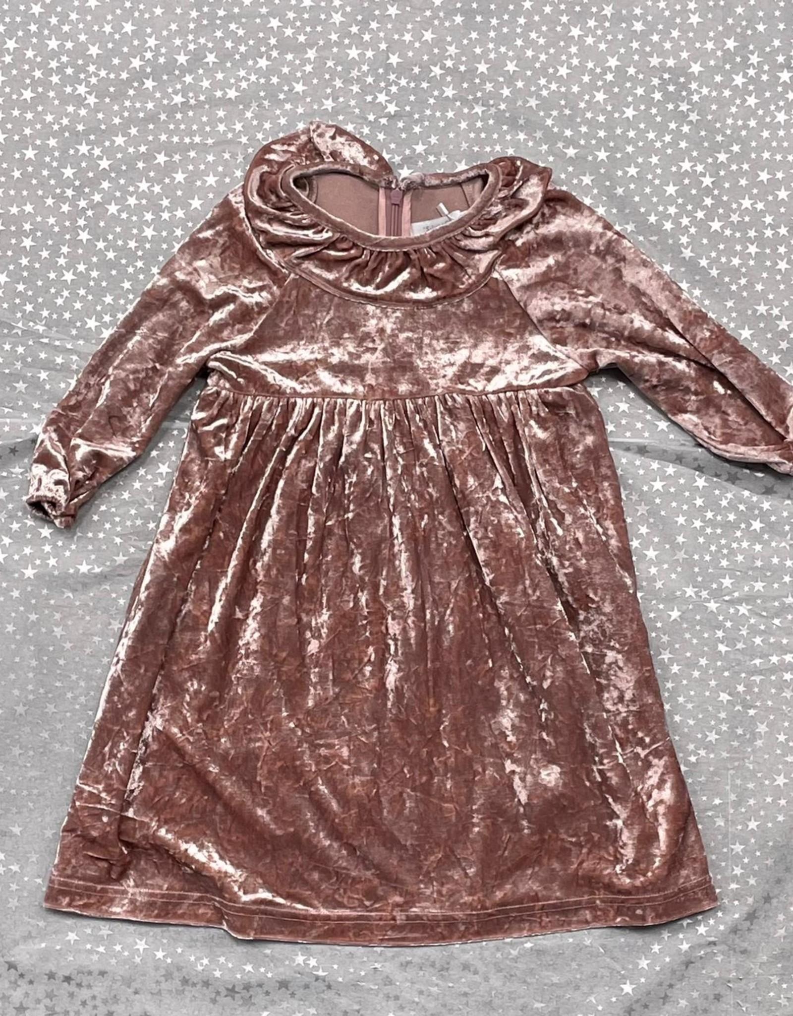 SilverC SilverC Crushed Velvet Dress with Ruffle