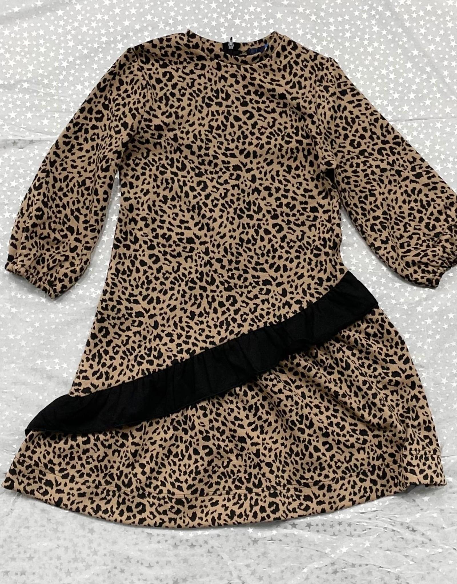 MeMe Basics MeMe Basics Leopard Dress with Asymetrical Ruffle