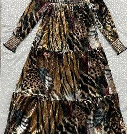 Cindy Cindy Velvet Animal Print Tiered Robe with Smock Neck