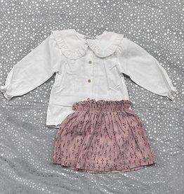 Babidu Babidu White Collar Shirt with Floral Ruffle Skirt