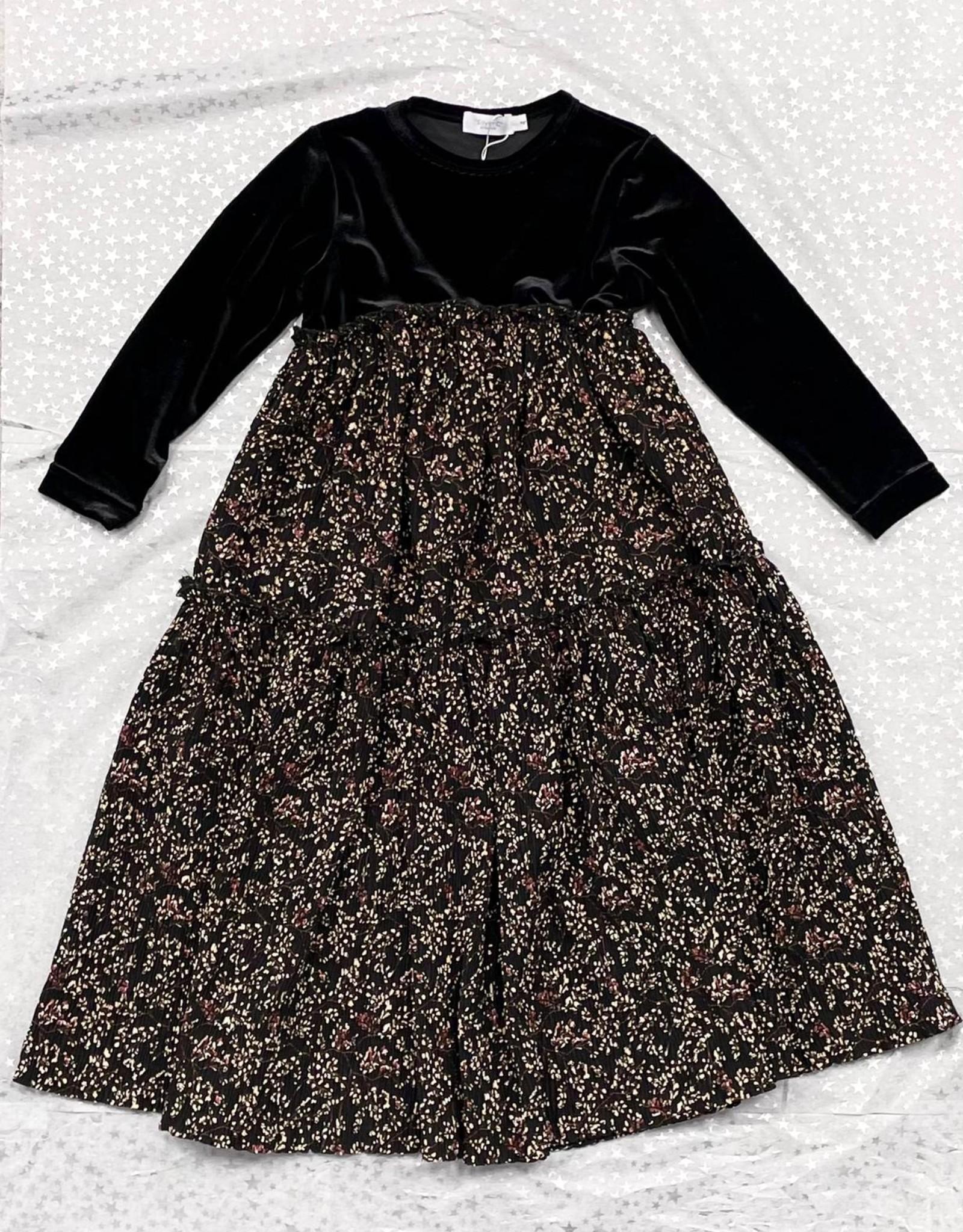 SilverC SilverC Autumn Sparkle Tiered Robe with Empire Waist and Velvet Top
