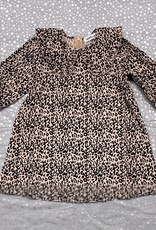 Umbrella Umbrella Leopard Print Corduroy Dress with Pointed Collar