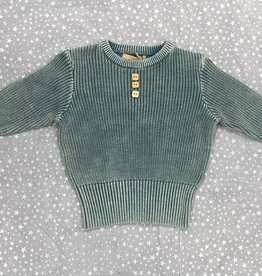 Canoe Canoe Chunky Knit Boys Crewneck Sweater with Faux Buttons
