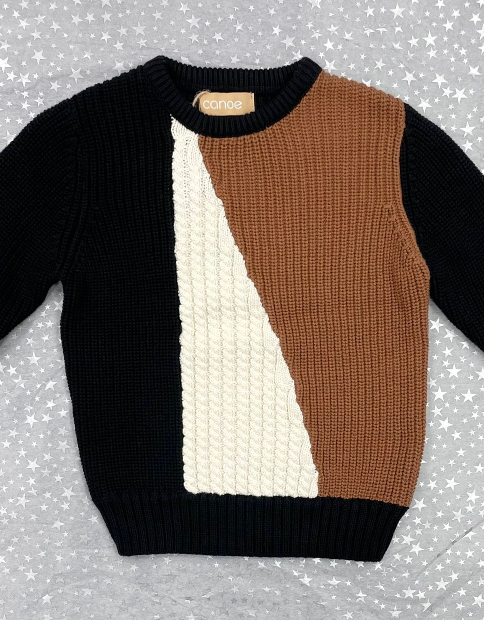 Canoe Canoe Asymetric Colorblock Knit Crewneck Sweater