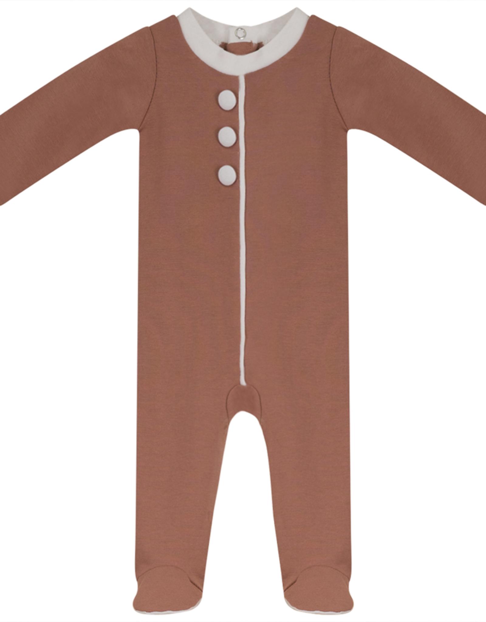 FRAGILE Fragile Faux Button Footie Pajama with Trim