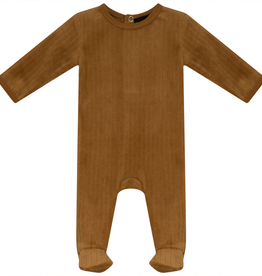 Peek A Boo Peek A Boo Wide Ribbed Velour Footie Pajama