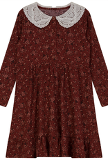 Space Grey Space Grey Floral Flannel Dress with a Lace Collar