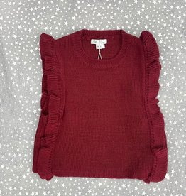 Elle & Boo Elle & Boo Knit Cropped Vest with Ruffles on the Side