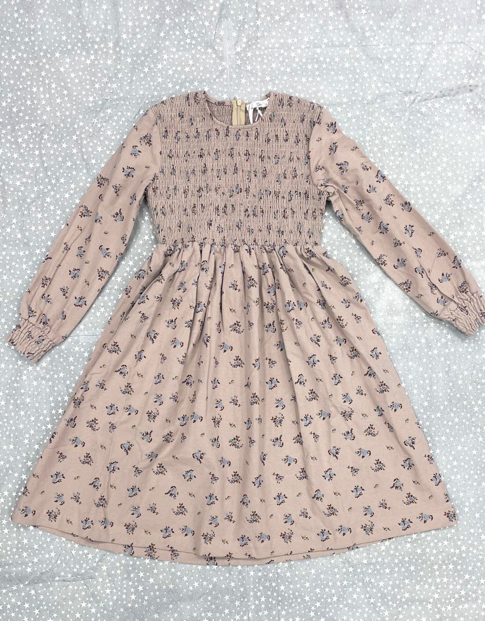 So Loved So Loved Floral Fleece Dress with Smock Detail