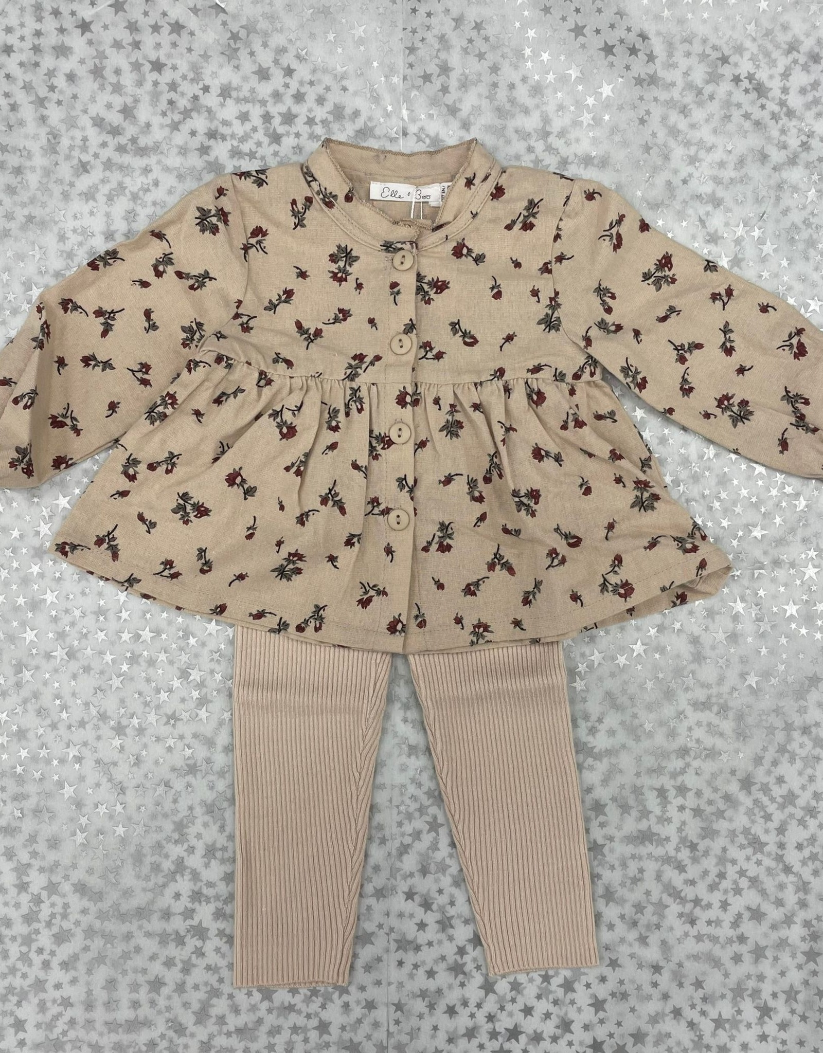 Elle & Boo Elle & Boo Floral Top with Knit Pants