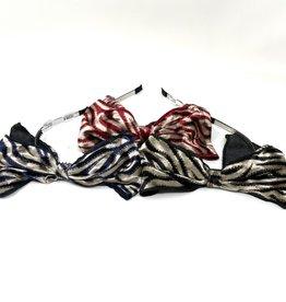 Dacee Dacee Tiger Print Velvet Bow Headband
