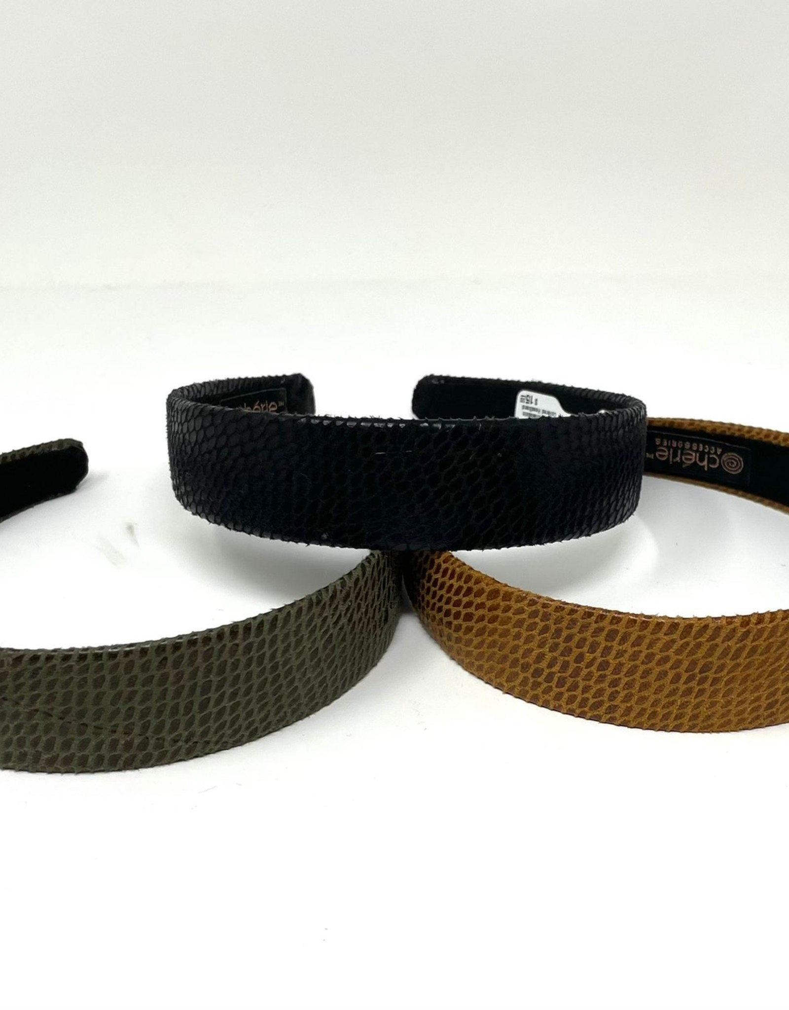 Cherie Cherie Wide Leather Snakeskin Covered Headband