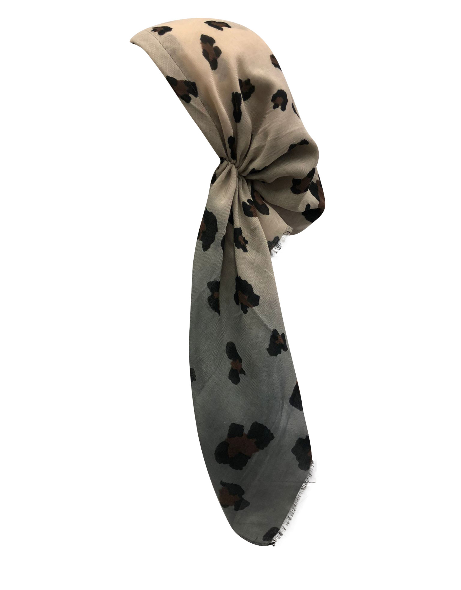 Dacee Dacee Leopard Ombre Pre-Tied Headscarf with Velvet