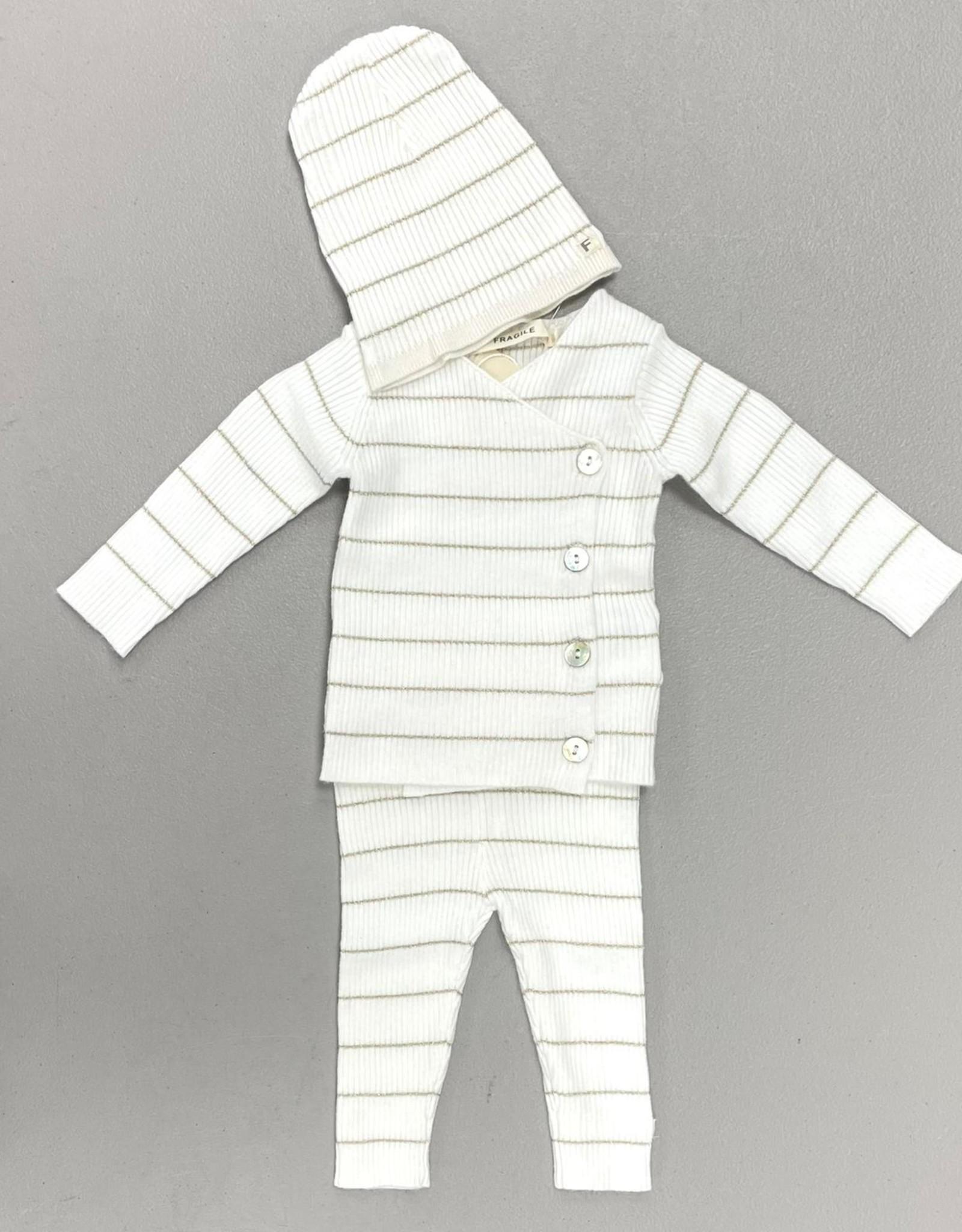 FRAGILE Fragile Lurex Stripe Ribbed Knit 3 Piece Set with V Neck