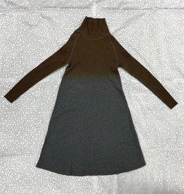 BRB BRB Ribbed Aline 2 Tone Turtleneck Dress