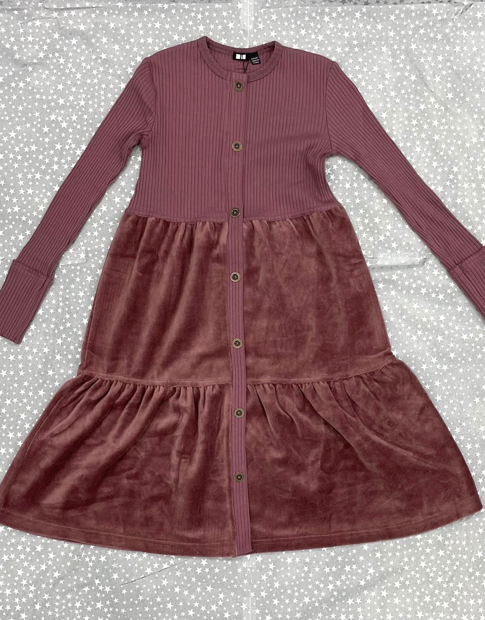 2 Squares 2 Squares Tiered Velour/Ribbed Dress with Faux Brass Buttons