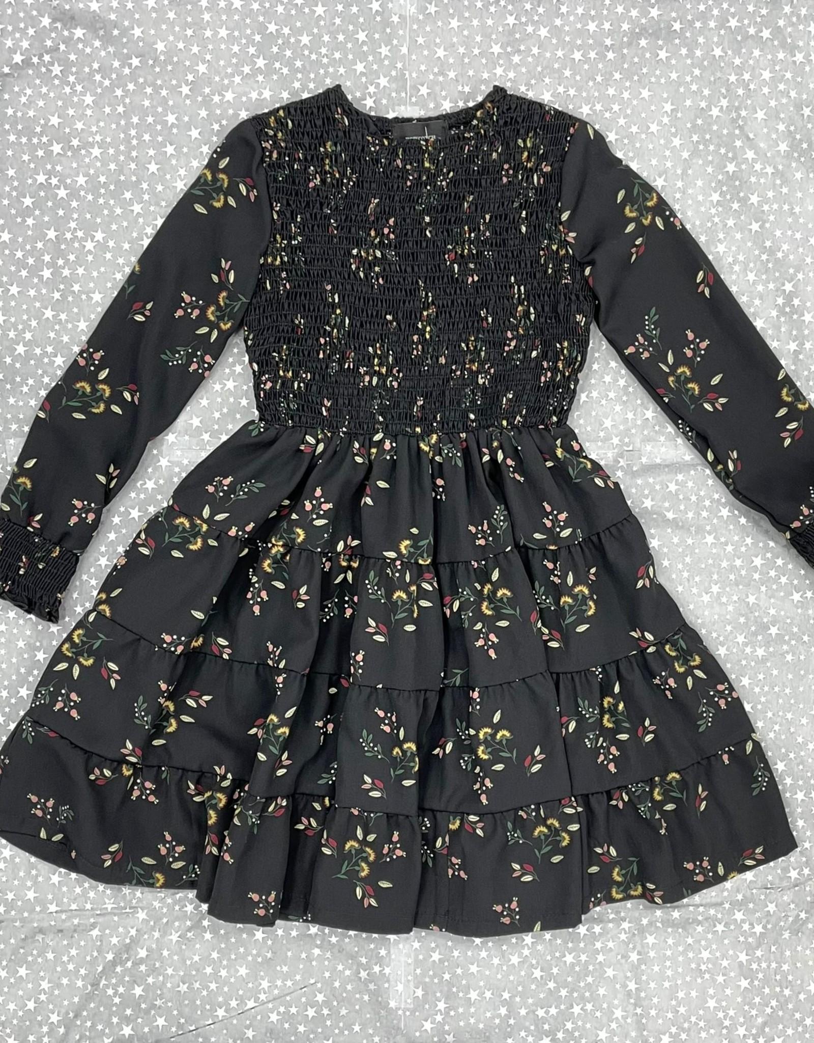 Hopscotch Hopscotch Leaf Printed Tiered Dress with Smocking
