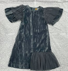 C.T.N. C.T.N. Velour Dress with Tulle Wing Sleeves