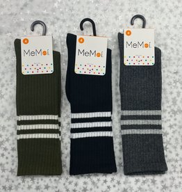 Memoi Memoi Thin Ribbed Sport Stripe Knee Sock