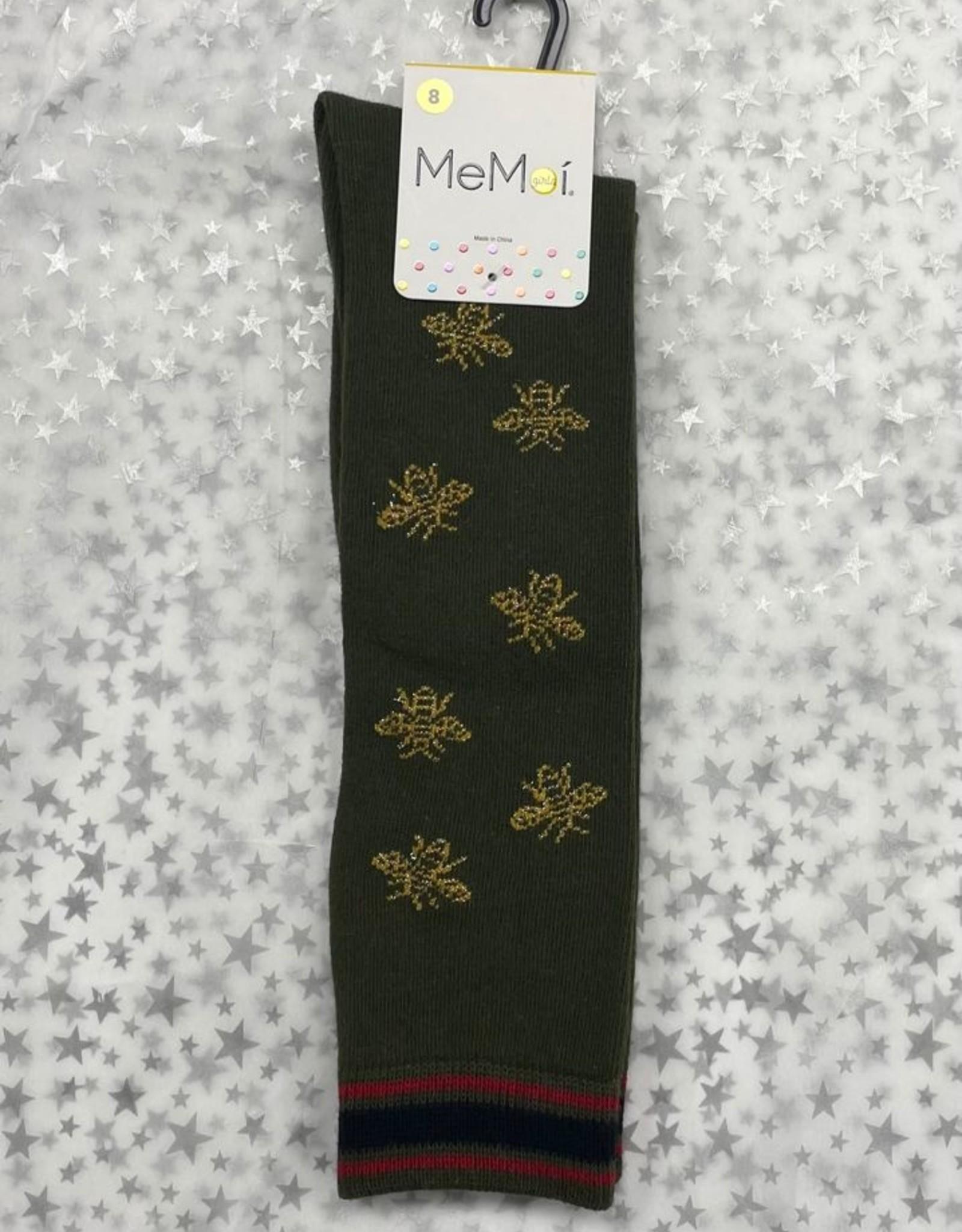 Memoi Memoi Striped Bee Knee Sock