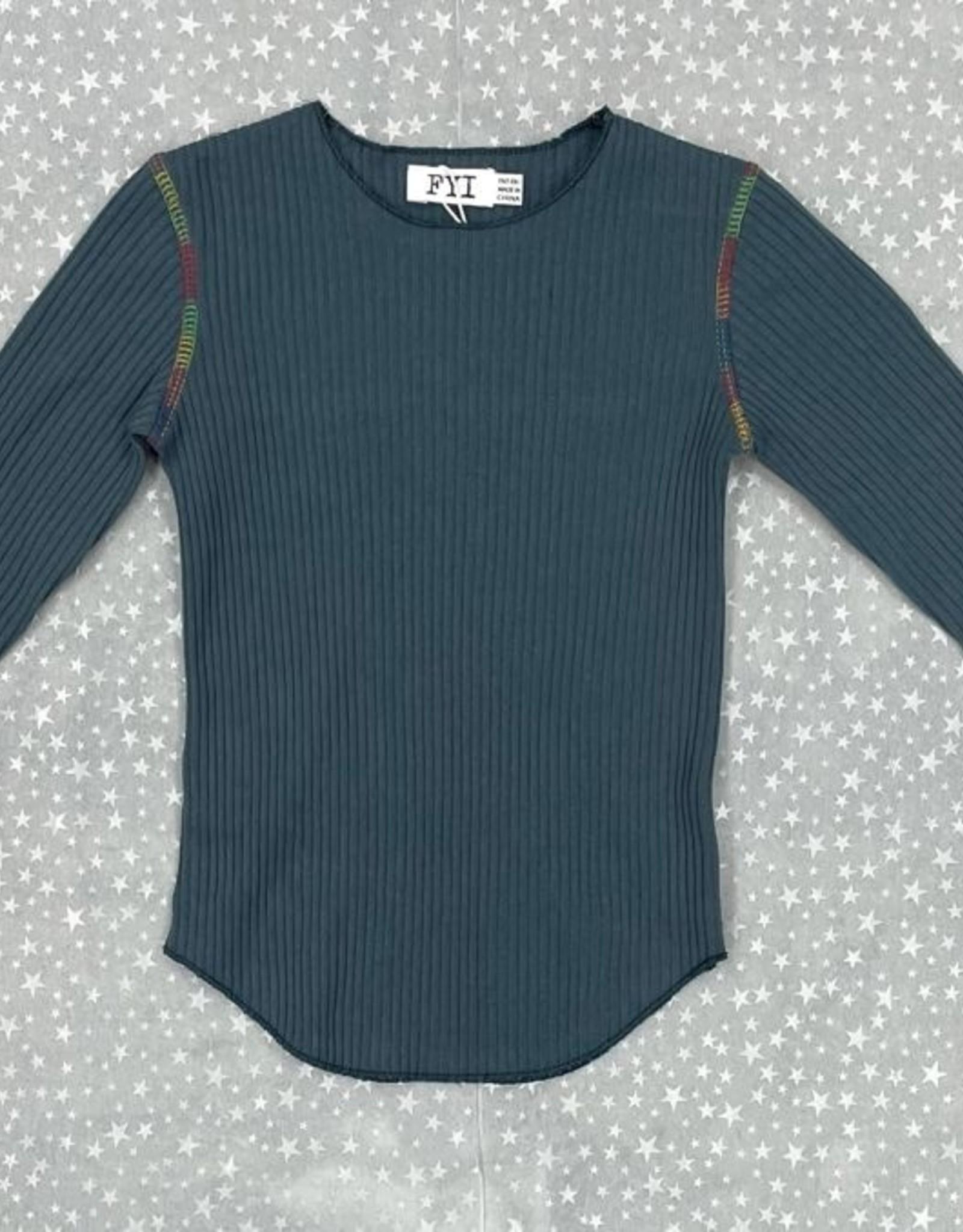 FYI FYI Ribbed Shirt with Rainbow Stitching