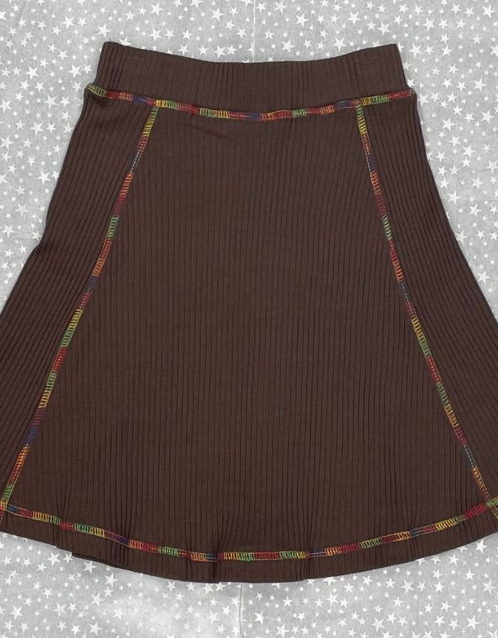 FYI FYI Ribbed Aline Skirt with Rainbow Stitching
