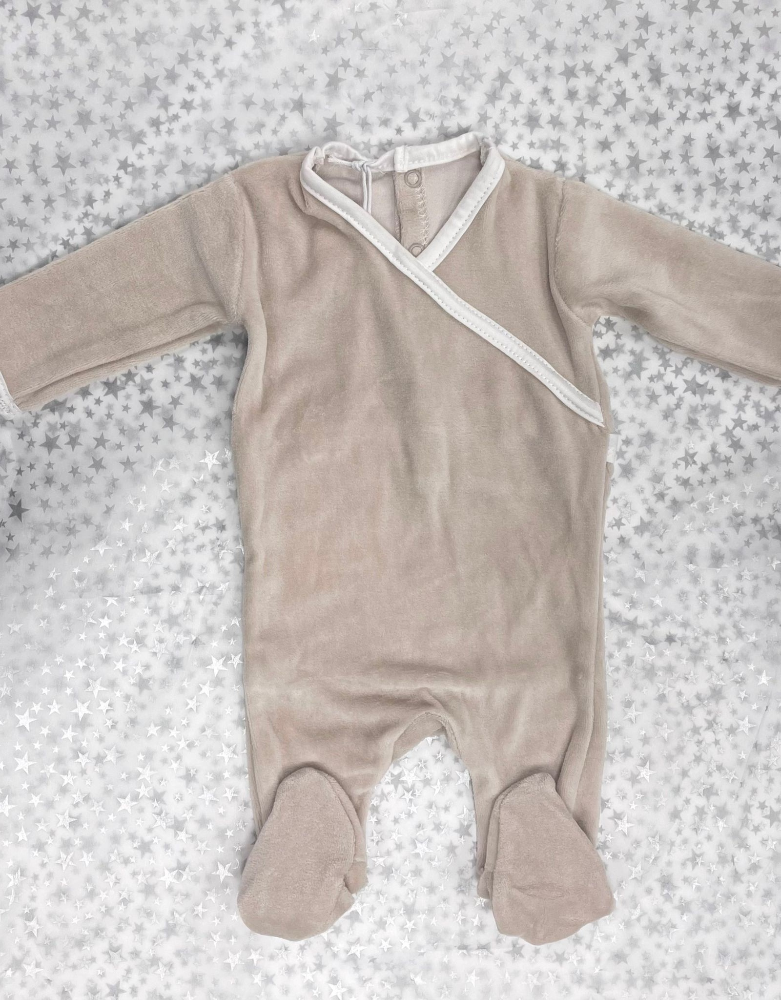 Ely's & Co ely's & co Velour Footie with Colored Trim