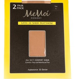 Memoi Memoi Satin Sheer 20 Denier Pantyhose 2-Pack