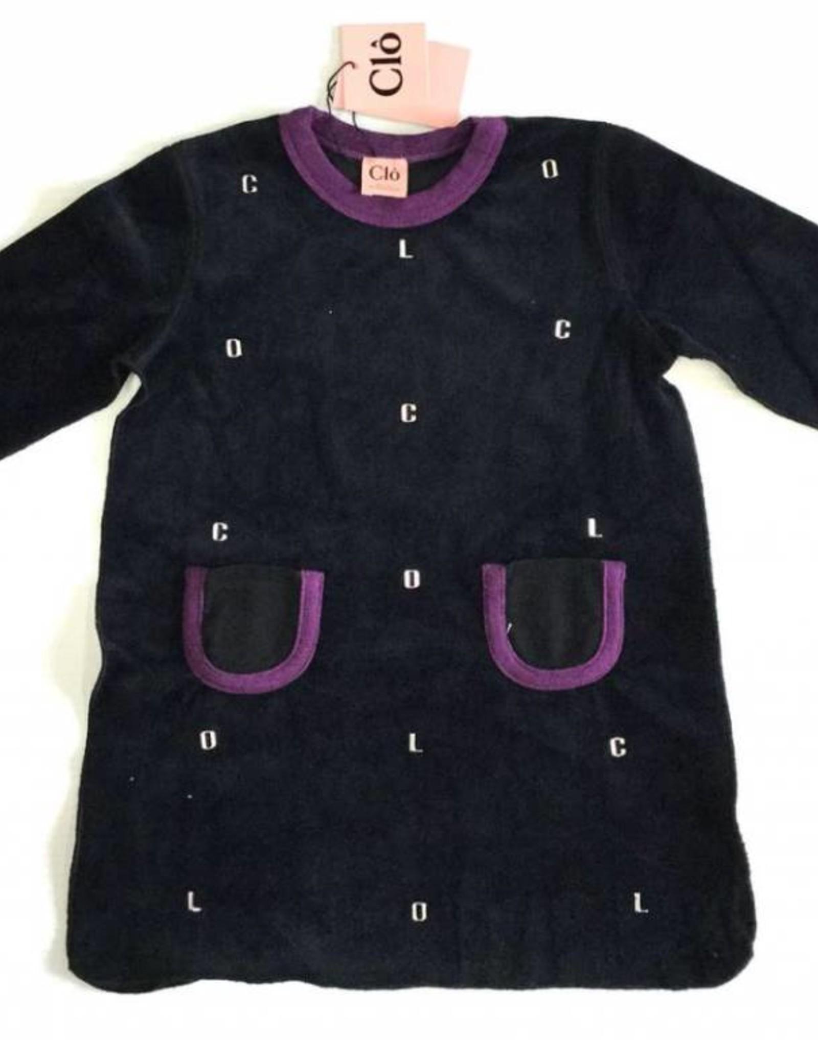 Clo Clo Velour Purple Edging Dress