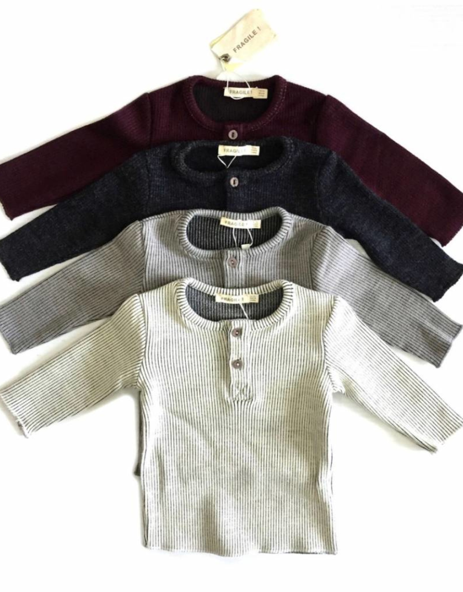 FRAGILE Fragile Baby Star Elbow Patch Ribbed Shirt