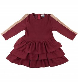 MeMe MeMe Tiered Dress with Fur Sleeve