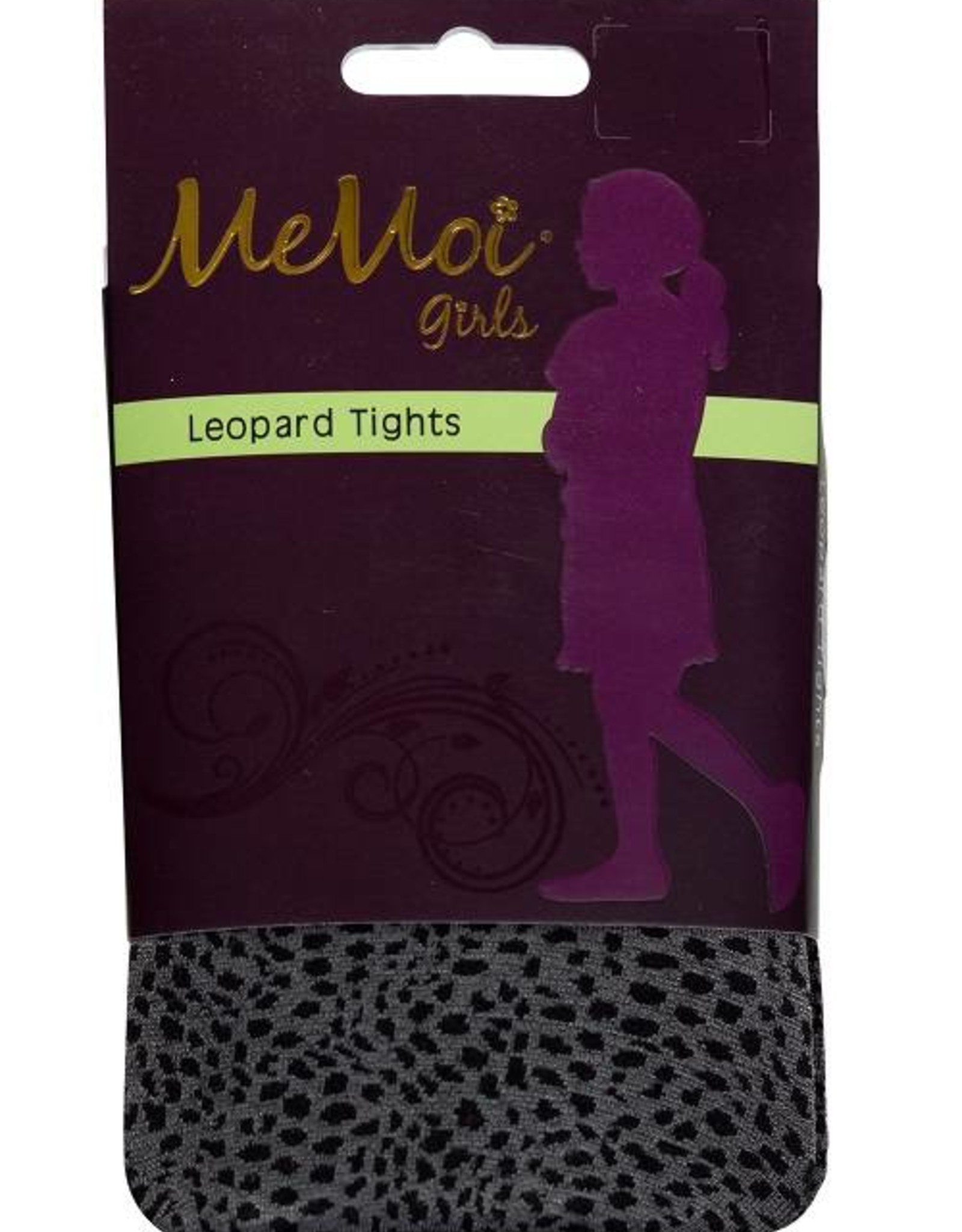 Memoi Memoi Girls Leopard Microfiber Tights