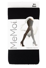 Memoi Memoi Ladies Rib Opaque Tights
