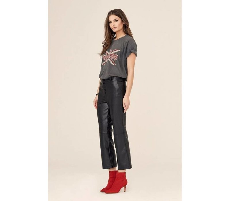 High Rise Button Fly Crop Flare Pant