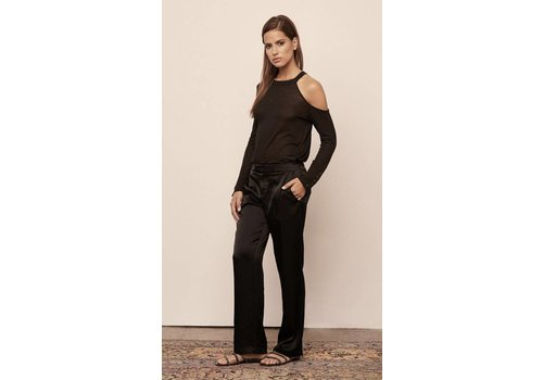 David Lerner Satin Wide Leg Pant