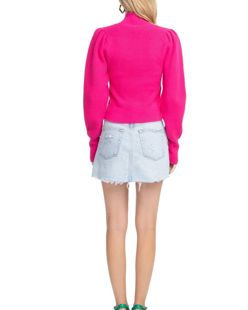 ASTR Mock Neck Puff Slv Sweater